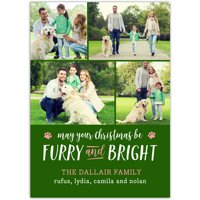 Furry and Bright - 5x7 Personalized Pet Holiday Card
