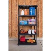 Keter 24-in. 5-Tier Ventilated Shelving Unit, Resin Storage Shelf, Black