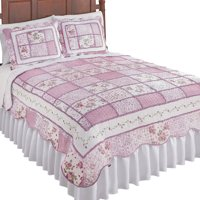 Reversible Patchwork Classic Floral Quilt with Scalloped Border, Twin, Rose