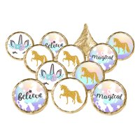 Unicorn Party Favor Stickers, 324 count - Magical Unicorn Birthday Party Supplies Rainbow Unicorn Candy Labels Unicorn Baby Shower Decorations - 324 Count Stickers