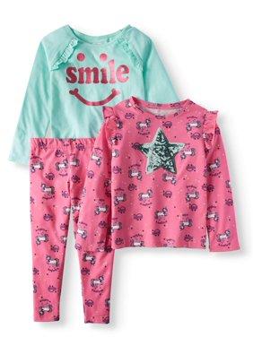 Girls' Long Sleeve Print Ruffle Tee, Graphic Ruffle Raglan Tee, & Print Leggings, 3pc Outfit Set