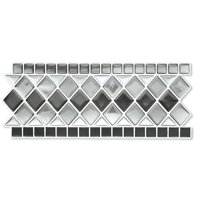 Collections Etc. Tile Borders Peel and Stick Backsplash, Removable Backsplash for Kitchen, Bathroom, Set of 8, Black And White