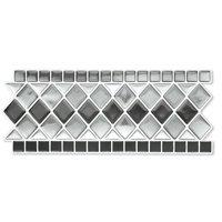 Collections Etc. Tile Borders Peel and Stick Backsplash, Removable Backsplash for Kitchen, Bathroom, Set of 8, Black And White
