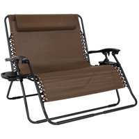 Best Choice Products 2-Person Double Wide Folding Zero Gravity Chair Patio Lounger w/ Cup Holders - Brown