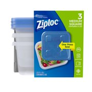 (3 pack) Ziploc Container with One Press Seal, Medium Square, 3 count