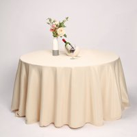 """Efavormart 132"""" Round Polyester Tablecloth for Kitchen Dining Catering Wedding Birthday Party Decorations Events"""