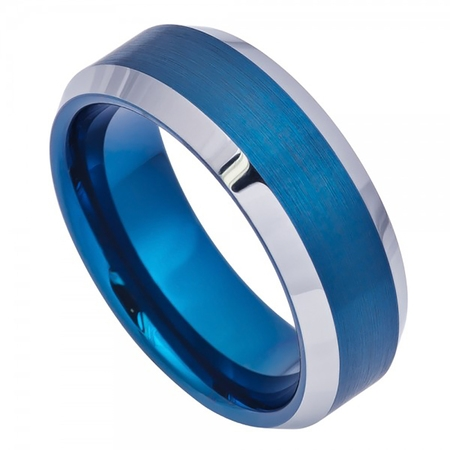 8mm Tungsten Blue IP Brushed Center High Polish Beveled Edge Wedding Band Ring For Men Or Ladies Beveled Edge Tungsten Ring