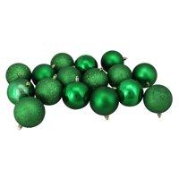 "16ct Xmas Green Shatterproof 4-Finish Christmas Ball Ornaments 3"" (75mm)"