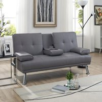Naomi Home Futon Sofa Bed with Armrest, Multiple Colors
