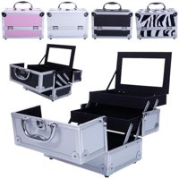 Ktaxon Profassional Makeup Train Case Aluminum Jewelry Storage Box Lockable Cosmetic Organizer