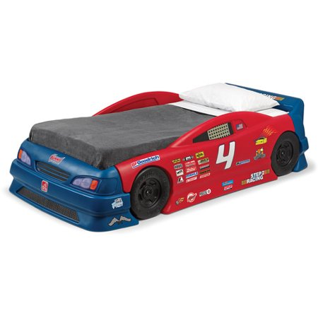 Step2 Stock Car Convertible Toddler to Twin Bed, Red and Blue ()
