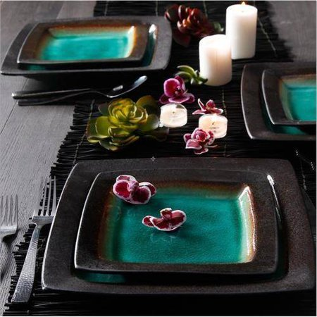 Gibson Home Ocean Oasis 16-Piece Dinnerware Set, Turquoise - Turquoise Dish Set
