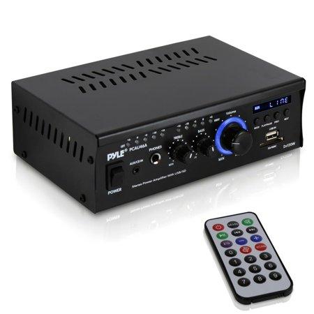 - Pyle PCAU46A - Audio Speaker Power Amplifier - Digital Stereo Amp with Headphone Jack, MP3/USB/SD Readers, 2 x 120 Watt
