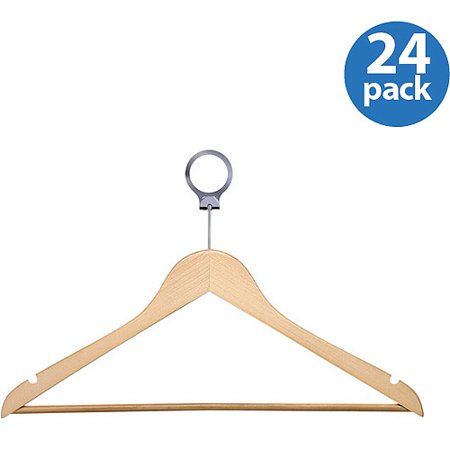 Honey Can Do Hotel Suit Hangers with Security Loop, Maple (Pack of 24)