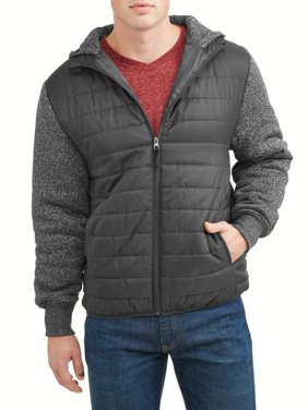 Men's Ultra LightPuffer Vest with Fleece Sleeve and Hood, Up to size 5XL