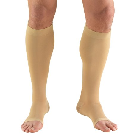 Truform Stockings, Short Length, Knee High, Open Toe: 20-30 mmHg, Beige, Medium (short length)