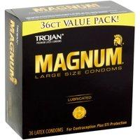 4 Pack - TROJAN Magnum Lubricated Latex Large Size Condoms, 36 ea