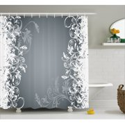 Floral Shower Curtain Flower Arrangement Contrasting Colors Wildflowers Leaves Stalks Nature Inspirations Fabric Bathroom