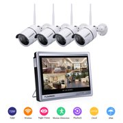 Floureon 4ch 1080p Wifi Nvr With 12 Lcd Monitor Wireless Security Camera System 4