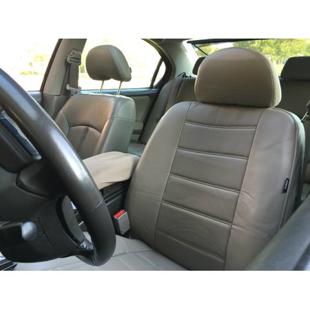 Leatherette 2 Seat Cover Looks Feels Like Real Leather 4pc Pair For TOYOTA SIENNA Beige Tan
