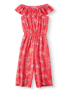 Floral Printed Gauze Gaucho Jumpsuit (Little Girls, Big Girls & Big Girls Plus)