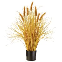 Faux Wheat Plant with Black Pot, Artificial Floral Décor, 26 inches tall, Natural