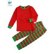 60873173a Deago Family Matching Christmas Pajamas Sleepwear Long Sleeve Tops Green  Pajamas Striped Pants Set
