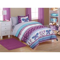 Mainstays Kids' Purple Butterfly Coordinated Bed in a Bag