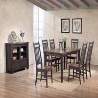 Kara 8 Piece Dining Room Set, Gray & Brown Wood, Transitional (Table, 6 Slatback Chairs & Buffet Server)