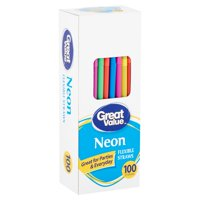 Great Value Neon Flexible Plastic Straws, 100 Count