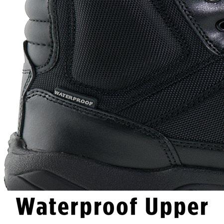 Interceptor Pilot Men's Zippered Tactical Work Boots, Slip Resistant, Waterproof, Black