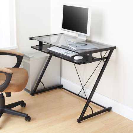 Mainstays Solar Glass-Top Desk, Black ()