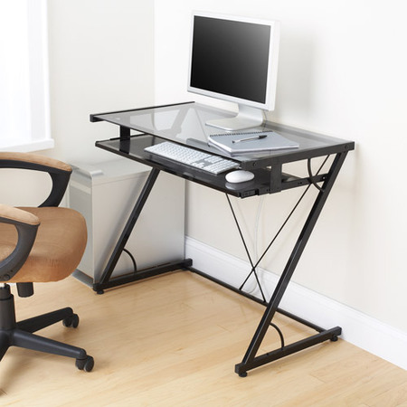 - Mainstays Solar Glass-Top Desk, Black