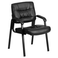 Leather Executive Guest, Reception, Waiting Room Chair, Black