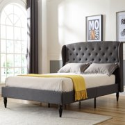Modern Sleep Coventry Upholstered Platform Bed | Headboard and Metal Frame with Wood Slat Support | Grey, Multiple Sizes