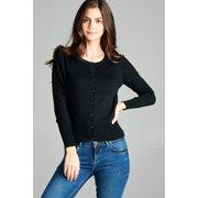 b07749b820d Women's Open Front Button up Basic Cardigan Light Knit Long Sleeve Sweater