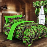 Regal Comfort - BioHazard Green Camouflage Full 8pc Premium Luxury Comforter, Sheet, Pillowcases, and Bed Skirt Set by Camo Bedding Set For Hunters Teens Boys and Girls