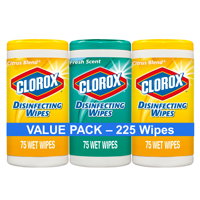 Clorox Disinfecting Wipes (225 ct Value Pack), Bleach Free Cleaning Wipes - 75 Count Each (Pack of 3)