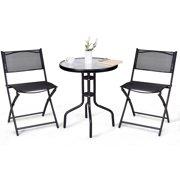 Gymax 3 Pcs Bistro Set Garden Backyard Table Folding Chairs Outdoor Patio Furniture