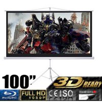 """100"""" Projector 16:9 Movie Screen Projection Screen with Foldable Tripod Stand, Manual"""
