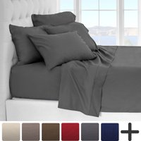 6 Piece 1800 Collection Deep Pocket Bed Sheet Set - Ultra-Soft Hypoallergenic - 2 EXTRA PILLOW CASES (Queen, Grey)