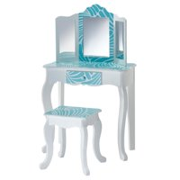 Teamson Kids - Fashion Tropical Prints Gisele Vanity Table & Stool Set - Aqua Blue / White