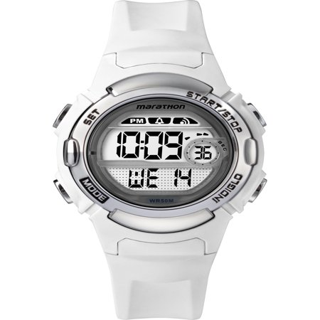 Marathon Women's Digital Mid-Size White/Silver-Tone Watch, Resin Strap Coral Sterling Silver Watch