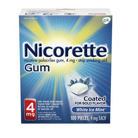 - Nicorette Nicotine Gum, Stop Smoking Aid, 4 mg, White Ice Mint Flavor, 100 count