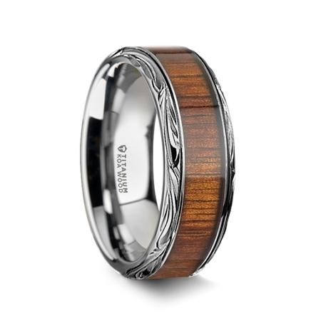 Ohana Koa Wood Inlaid Titanium Mens Wedding Ring With Intricate Edges  10mm