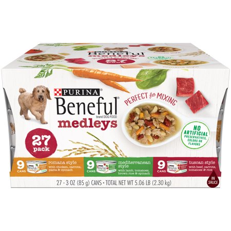 Beneful Dog Food Coupons (Purina Beneful Wet Dog Food Variety Pack, Medleys Tuscan, Romana & Mediterranean Style - (27) 3 oz. Cans )