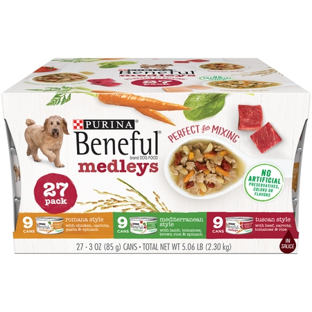 Purina Beneful Wet Dog Food Variety Pack, Medleys Tuscan, Romana & Mediterranean Style - (27) 3 oz. Cans