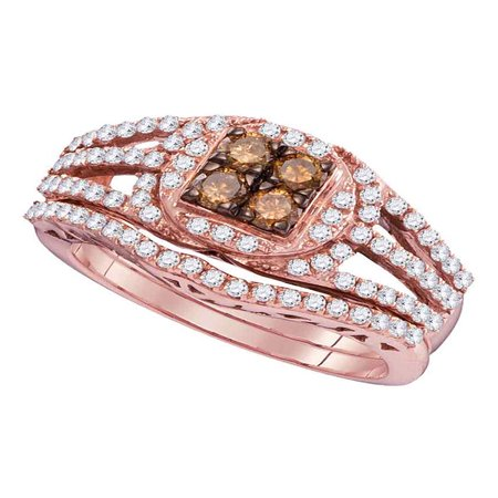 10kt Rose Gold Womens Round Cognac-brown Color Enhanced Diamond Bridal Wedding Engagement Ring Band Set 1 Cttw - Rose Gold Wedding Colors