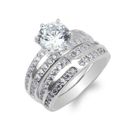 Round Set Cross (Duo Ladies 10K White Gold Round CZ Cross Engagement Ring Set Size 4-10 )