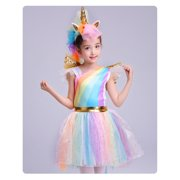 d5b6ce1c6b Girls Rainbow Unicorn Costume Princess Tutu Dress Christmas Birthday Party  Outfits